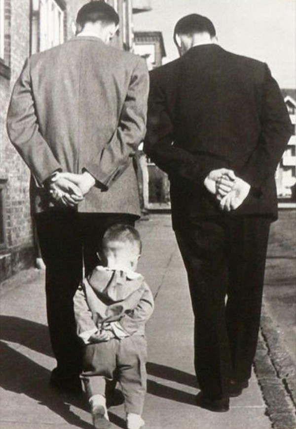 oude vader en zoon foto