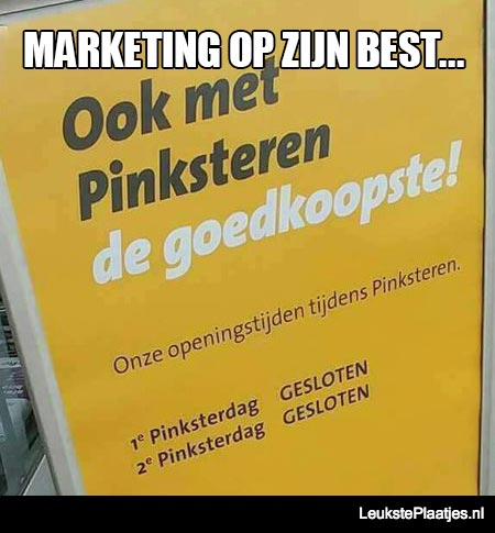 pinkster marketing op zijn best